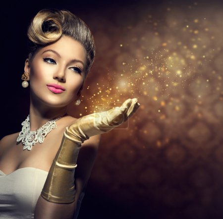 Photo for Retro woman with magic in her hand. Vintage style lady - Royalty Free Image