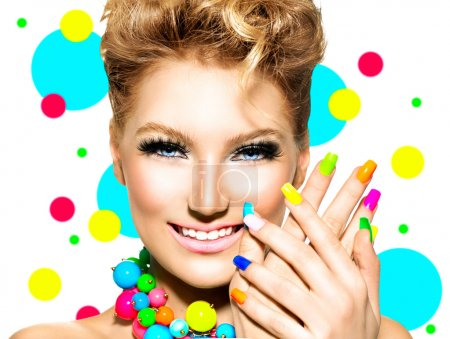 Girl with Colorful Makeup, Nail polish