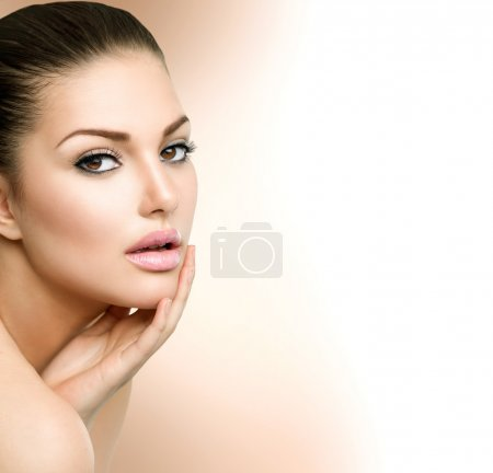 Photo for Beauty Spa Woman Portrait. Beautiful Girl Touching her Face - Royalty Free Image