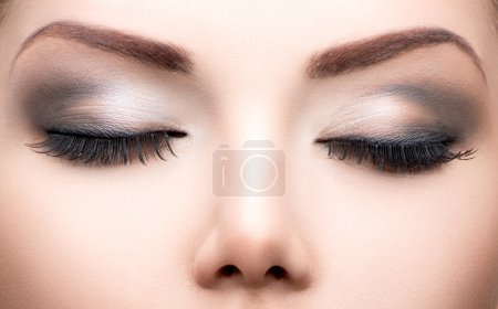 Photo for Beauty eyes makeup closeup. Long eyelashes, perfect skin - Royalty Free Image