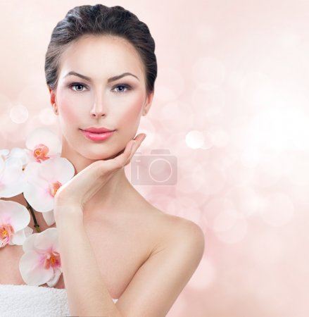Photo for Spa woman with fresh skin. Beauty girl touching her face - Royalty Free Image