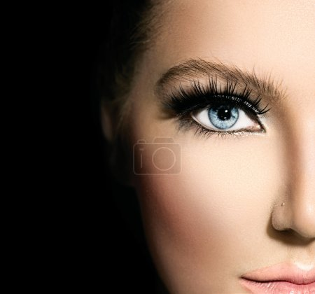 Beauty makeup for blue eyes. Part of beautiful fac...