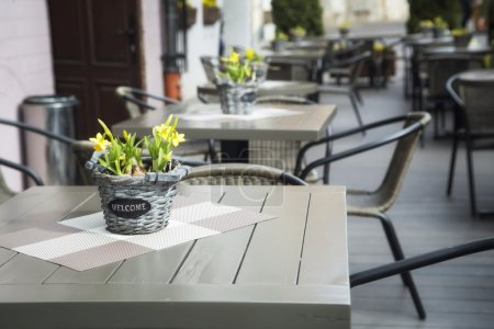 Photo pour Intérieur du café d'été . - image libre de droit