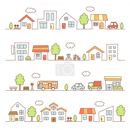 Illustration for Stores and houses on a street - Royalty Free Image