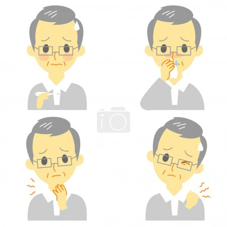 Disease Symptoms 02, fever, sore throat,dripping nose,stiff neck, expressions, old man