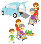 Old woman in wheelchair Adapted Vehicle family