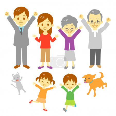 Illustration for Joyful family, three generation family, dog and cat - Royalty Free Image