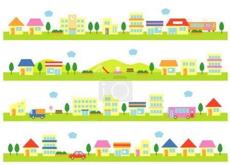 Illustration for Stores and houses on a street, white background - Royalty Free Image