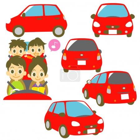 FAMILY in a car, red car illustration