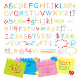 Colored pencil hand drawn style alphabets set
