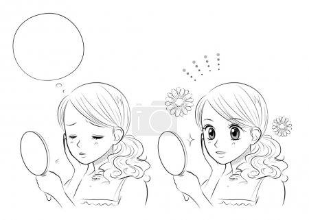Illustration for Woman skin care, Japanese Manga style, vector file - Royalty Free Image