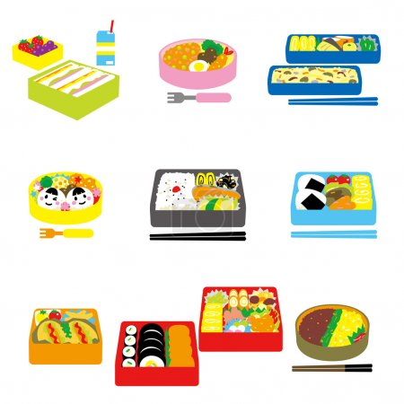 Illustration for Japanese BENTO, box lunch, bento box, vector file - Royalty Free Image