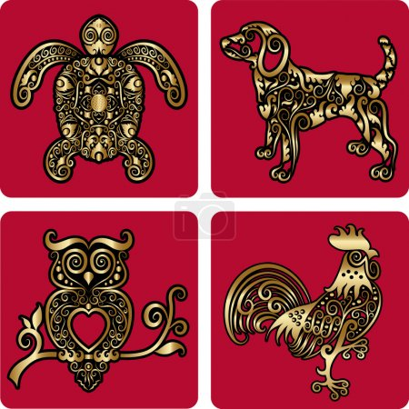 Golden animal ornaments (turtle, dog, owl, rooster)