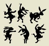 Dancing rabbit silhouette vector
