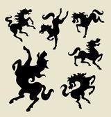 Horse dancing silhouette vector