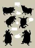 Pig Dancing Silhouettes