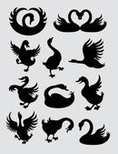 Duck and Swan Silhouette Symbols