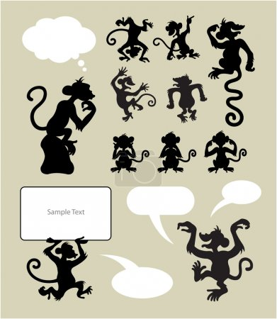 Monkey Silhouette Symbols