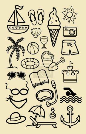 Illustration pour Summer Beach Icon Sketches. Beau vecteur dessin à la main des icônes d'activité de plage. Bon usage pour votre symbole, icône web, conception d'autocollant, ou tout design que vous voulez. Facile à utiliser, modifier ou changer de couleur . - image libre de droit
