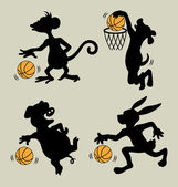 Animal Playing Basketball Silhouettes