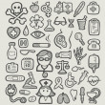Medical or hospital icons spontaneous hand drawn. ...