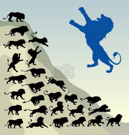 Lion running silhouettes