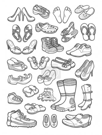 Illustration for Shoes, feet, sandals, etc. sketch or spontaneous hand drawing. Good use for your website icon, illustration, sticker, or any design you want. Easy to use, edit, or change color. - Royalty Free Image