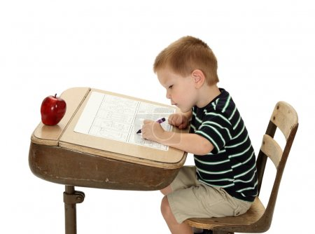 School Boy with Apple and Desk