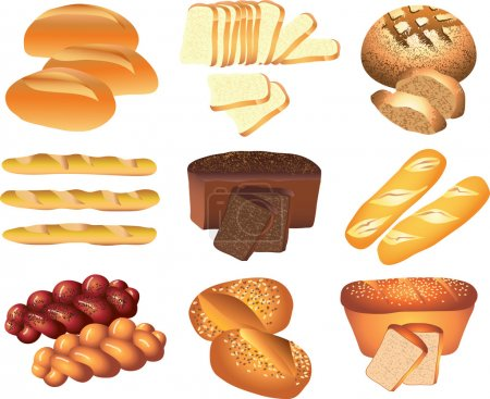 Bakery breads photo-realistic set
