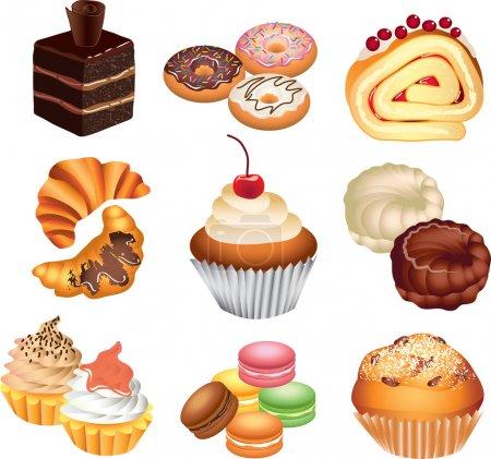 Illustration pour Gâteaux ensemble vecteur photo-réaliste - image libre de droit