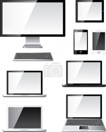Digital devices photo-realistic vector set