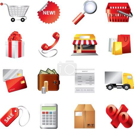 Shopping icons detailed set
