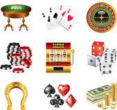 Casino icons detailed set