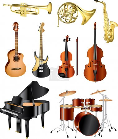 Musical instruments photo-pealistic set