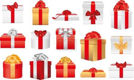 Illustration pour Cadeaux de Noël et cadeaux photo illustration réaliste - image libre de droit