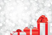 white christmas background with gifts and presents