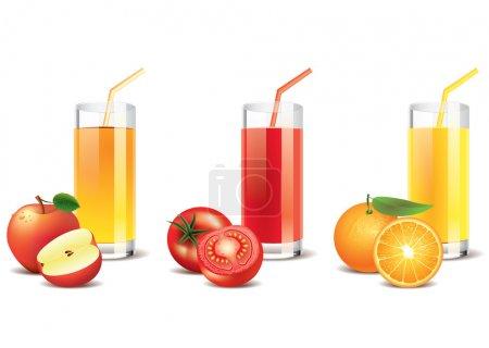 Illustration pour Jus de pomme, de tomate et d'orange dans un verre, isolé sur blanc. Vecteur photo-réaliste - image libre de droit