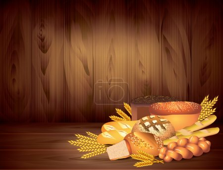 Breads and wheat on dark wooden background vector