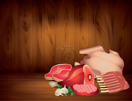 Meat and greens on wooden table, dark vector backg...