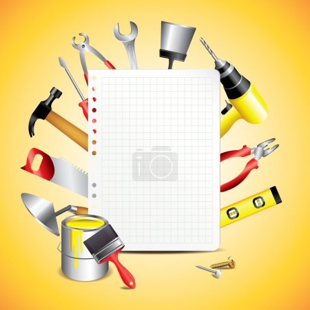 Construction tools with blank paper