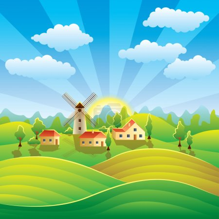 Illustration for Rural landscape with houses, mill, summer fields and hills - Royalty Free Image