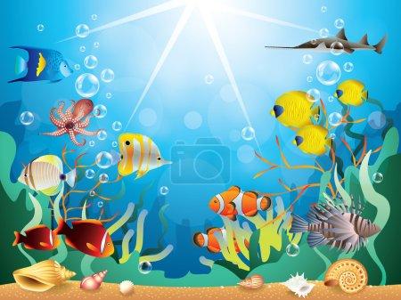 Illustration pour Monde sous-marin avec récifs et poissons tropicaux illustration vectorielle - image libre de droit