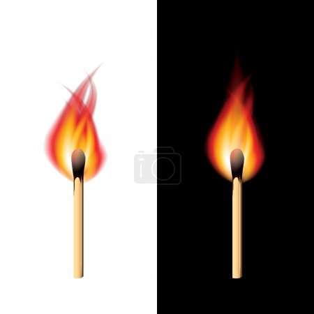 Burning match black and white vector