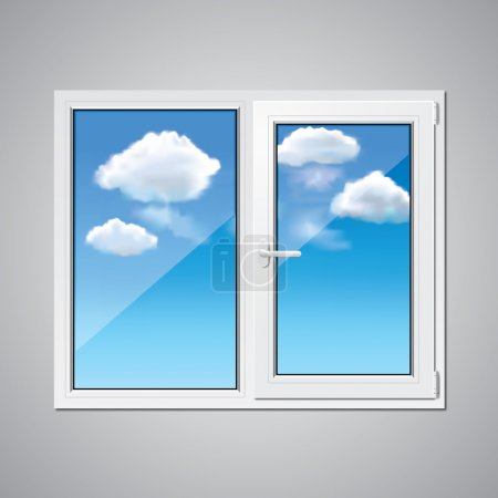 Illustration for Plastic window and blue sky with clouds behind vector illustration - Royalty Free Image