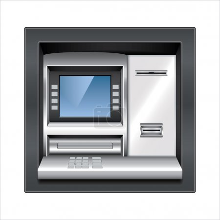 Illustration for Atm machine isolated on white photo-realistic vector illustration - Royalty Free Image