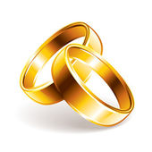 Wedding rings isolated on white photo-realistic vector illustration