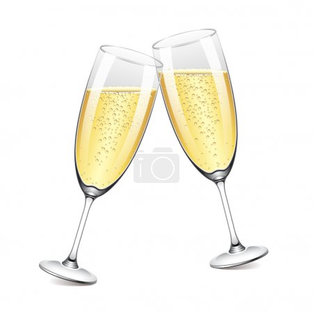 Two champagne glasses vector illustration