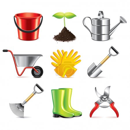 Illustration pour Outils de jardinage icônes ensemble vectoriel photo-réaliste détaillé - image libre de droit
