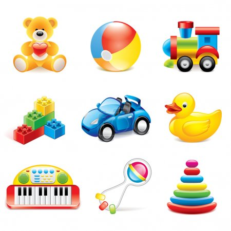 Illustration for Colorful toys icons detailed photo-realistic vector set - Royalty Free Image