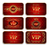 Set of VIP gold red cards with floral pattern